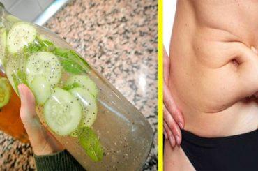 Estómago plano con limonada de menta, jengibre y pepino